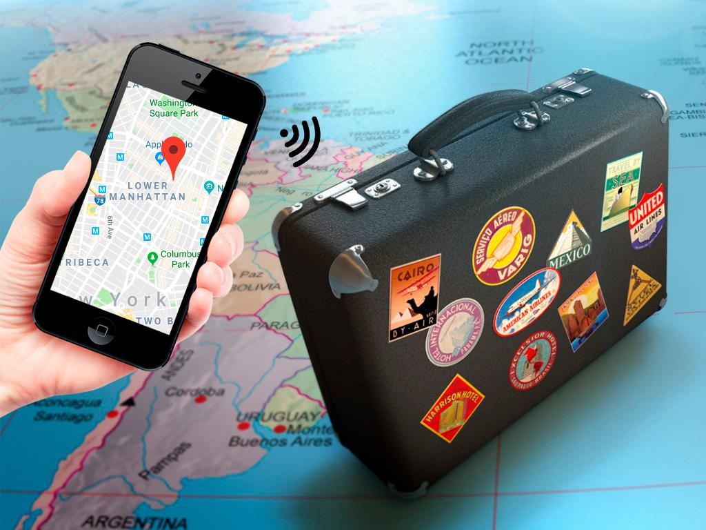 gps-трекер в чемодане